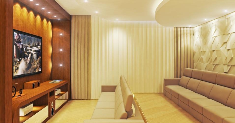 """Sala da casa terá """"dois andares"""" para que o sofá da frente não atrapalhe a visão de quem está atrás"""