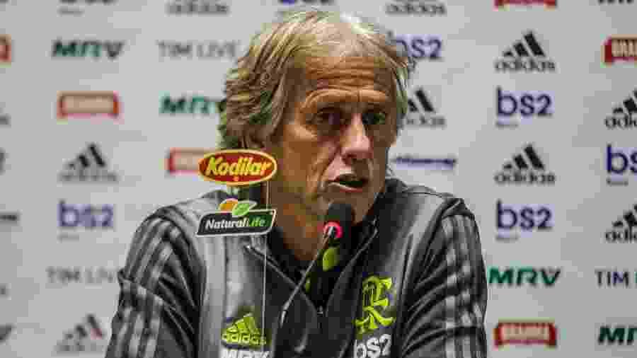 Jorge Jesus concede entrevista coletiva após empate do Flamengo contra o Athletico-PR pela Copa do Brasil - Gabriel Machado/AGIF