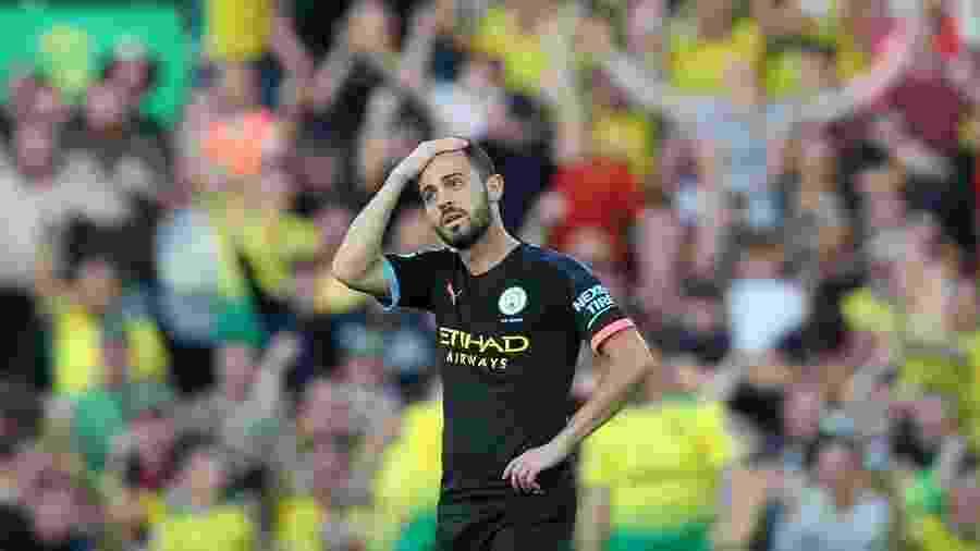 Bernardo Silva lamenta na partida entre Manchester City e Norwich - CHRIS RADBURN/REUTERS