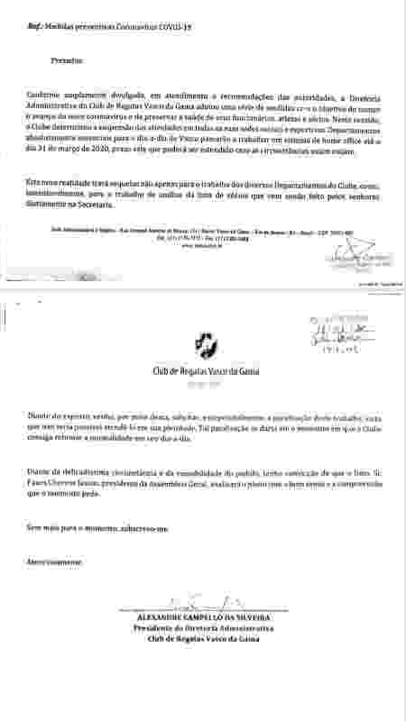 Em documento, presidente Alexandre Campello solicita a paralisação da análise da lista de sócios do Vasco - Divulgação