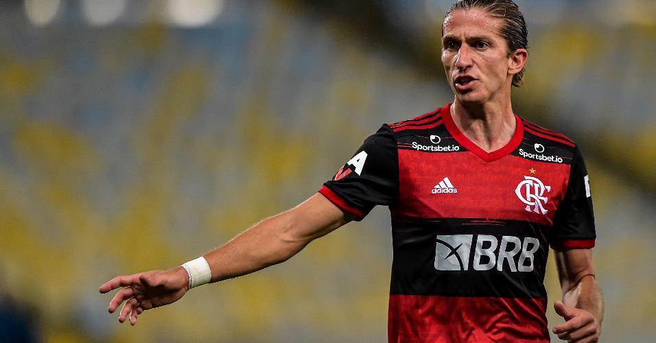 Filipe Luis, lateral do Flamengo, durante partida contra o Boavista