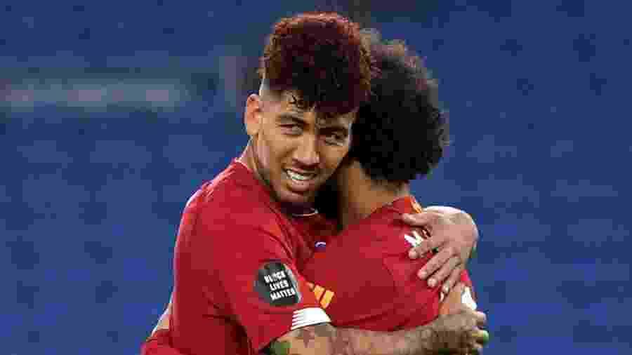 Roberto Firmino e Salah, do Liverpool - Daniel Leal Olivas/Pool via REUTERS