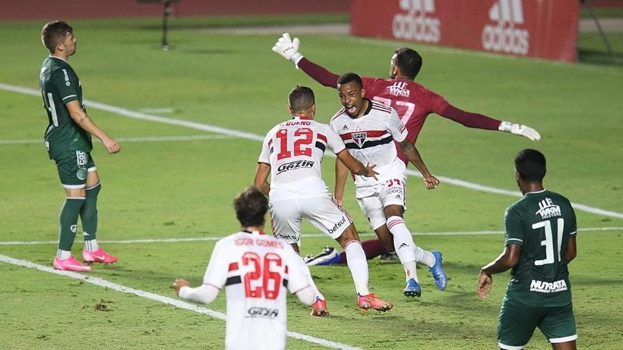 Wellington comemora gol do São Paulo na partida contra o Guarani, pelo Paulistão - Paulo Pinto / São Paulo FC
