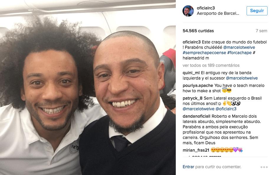 Marcelo e Roberto Carlos estão unidos em Madri