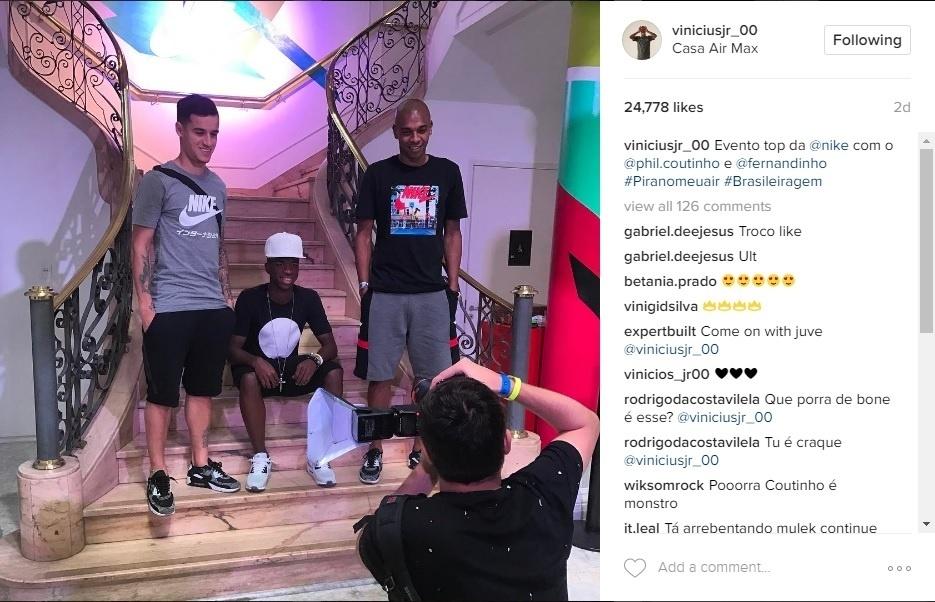 Vinicius Júnior foi escalado para evento da Nike com Philippe Coutinho e Fernandinho