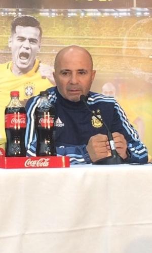 Jorge Sampaoli, técnico da Argentina, concede entrevista coletiva em Mebourne, na Austrália