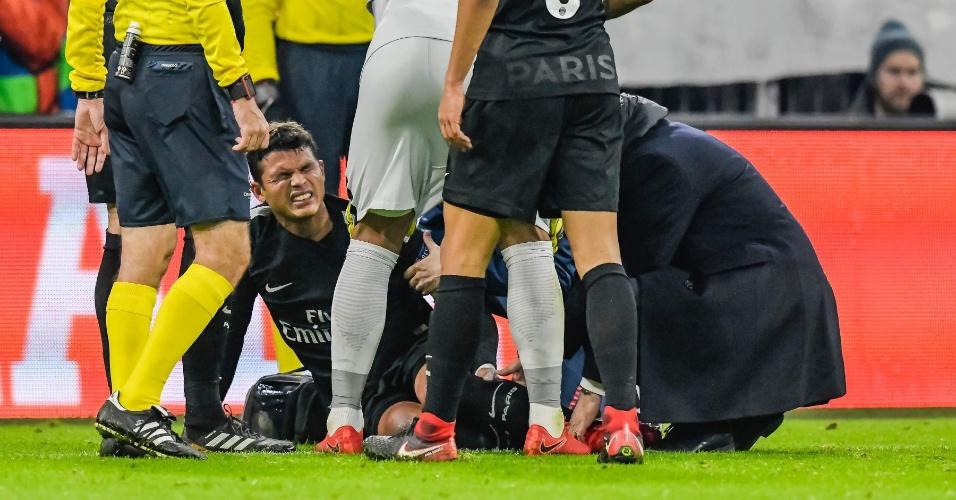Thiago Silva sofre lesão na partida entre Bayern de Munique e PSG, pela Liga dos Campeões