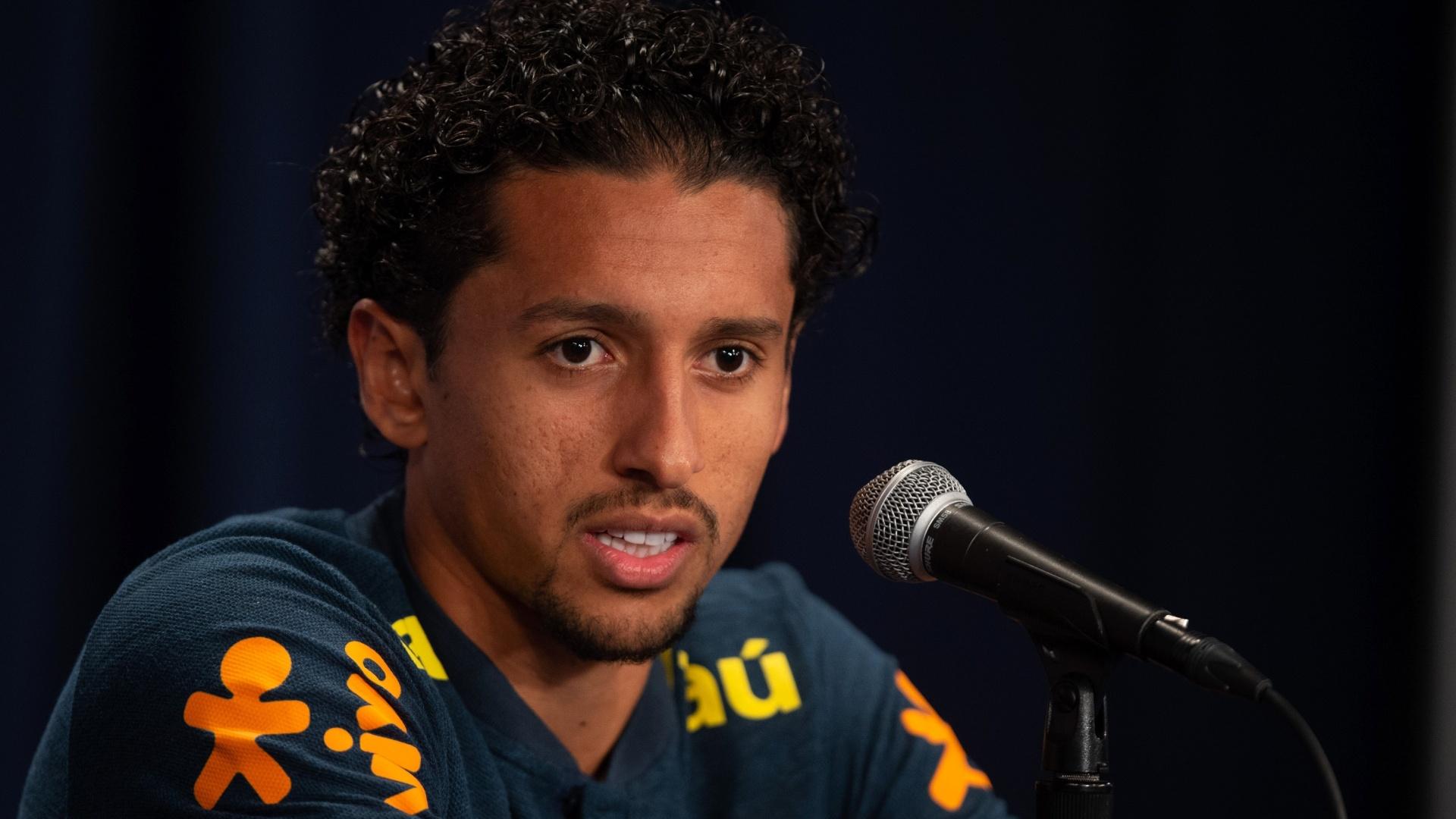 Marquinhos, durante entrevista coletiva da seleção brasileira