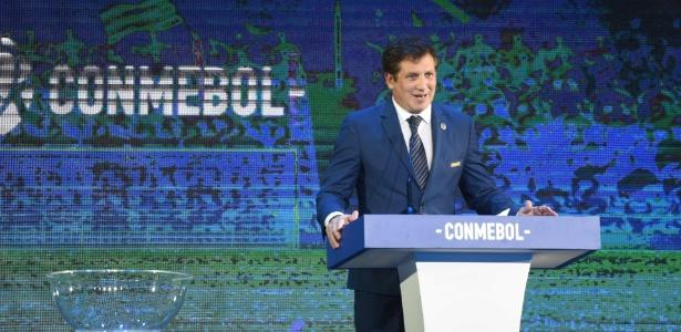 Presidente da Conmebol, Alejandro Dominguez participou do sorteio da Libertadores - NORBERTO DUARTE / AFP