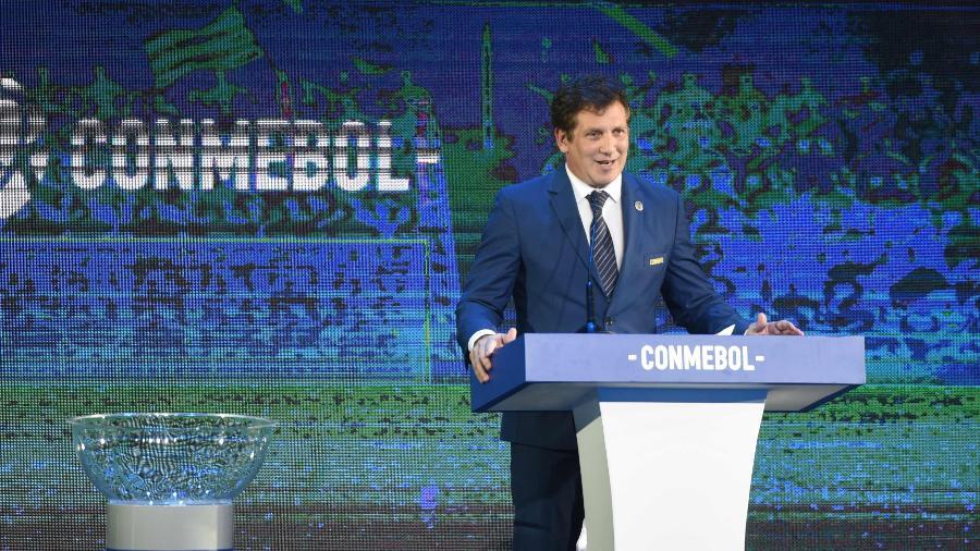 Alejandro Dominguez, presidente da Conmebol, se reuniu com representantes da Globo - NORBERTO DUARTE / AFP