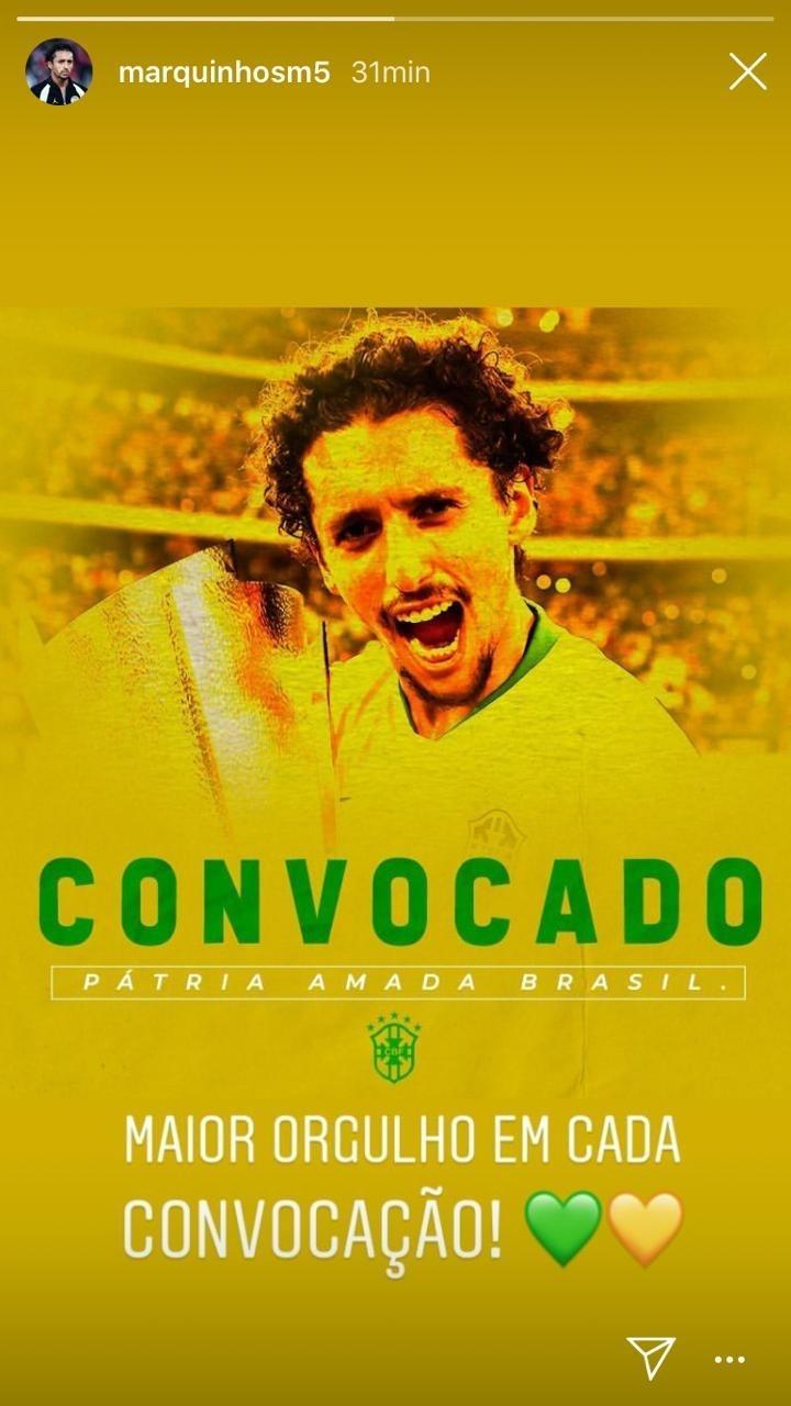 Marquinhos comemora convocação para seleção brasileira