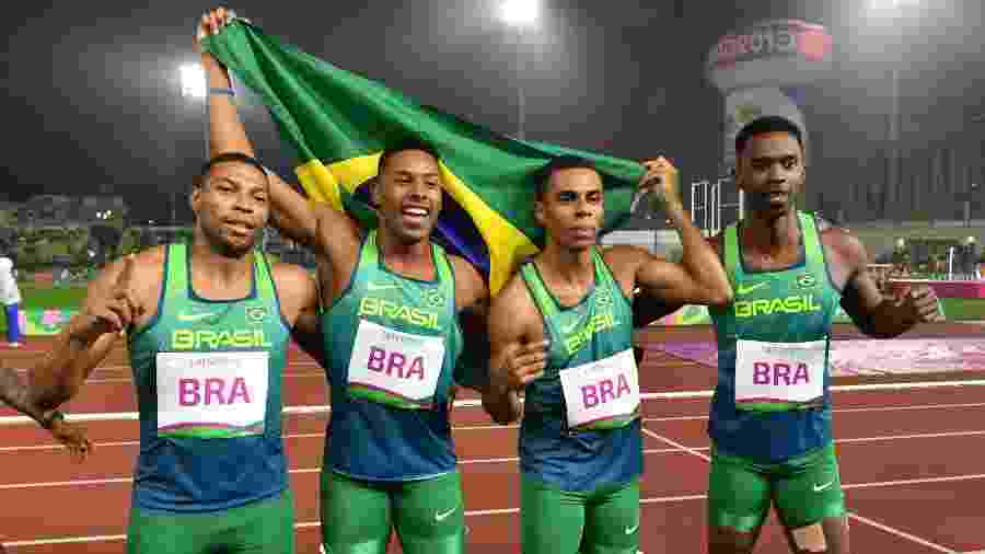 Brasil conquista ouro no revezamento 4x100m masculino do atletismo no Pan - Luis ACOSTA/AFP