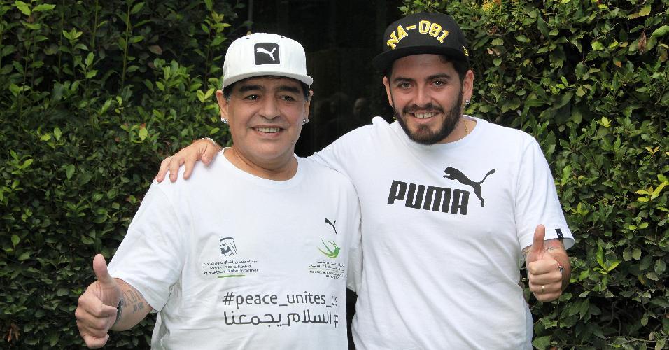 Diego Armando Maradona com seu filho Diego Armando Maradona Junior