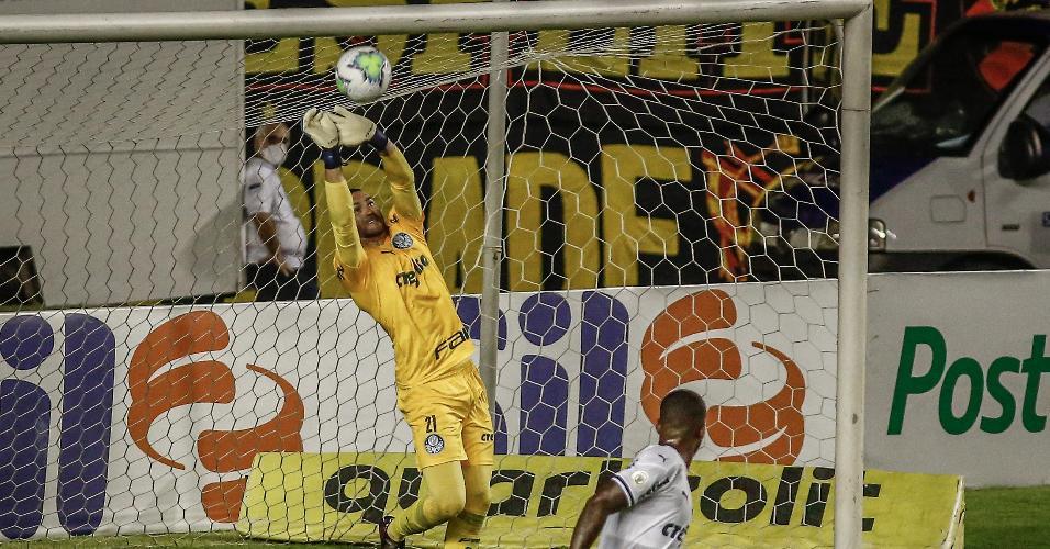 Weverton, goleiro do Palmeiras, durante partida contra o Sport pelo Brasileirão