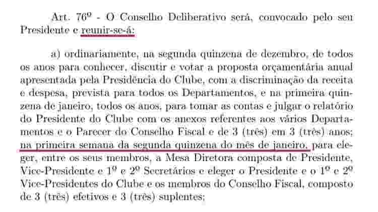 """Trecho do estatuto citado por Monteiro cita o prazo da reunião: """"primeira semana da segunda quinzena de janeiro"""" - Reprodução - Reprodução"""