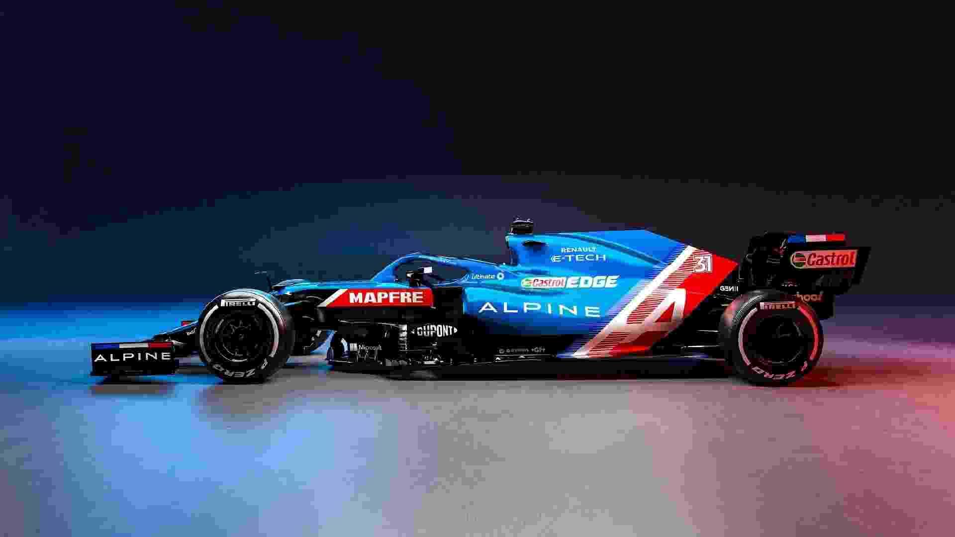 Cores do carro da Alpine têm o azul, o vermelho e o branco das bandeiras do Reino Unido e França - Divulgação/Renault