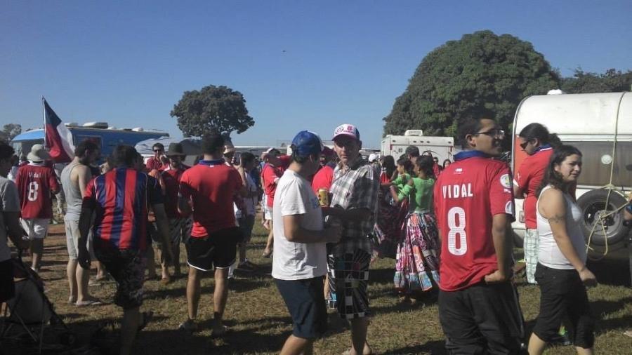 Mais de dois mil chilenos acamparam em local em Cuiabá durante o Mundial de 2014, inclusive um irmão de Valdívia - Arquivo Pessoal