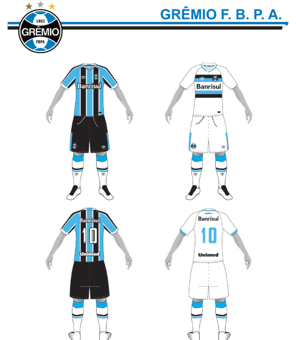 Uniformes 1 e 2 do Grêmio