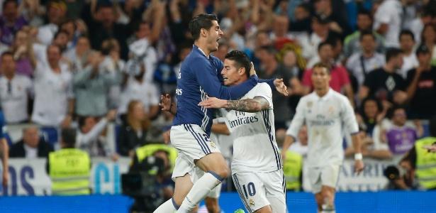 James (à dir.) não tem sido titular do Real Madrid na temporada