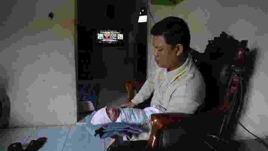 """Yordania Denny batizou filha com nome de Abidah Asian Games, ou """"Abidah Jogos Asiáticos"""" - Bagus Kurniawan/AFP"""