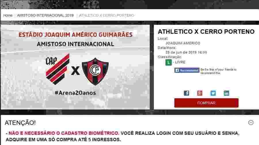 Reprodução/Site oficial do Athletico