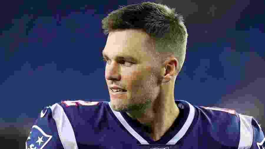 Tom Brady em ação durante jogo de pré-temporada do New England Patriots contra o New York Giants - Maddie Meyer/Getty Images/AFP