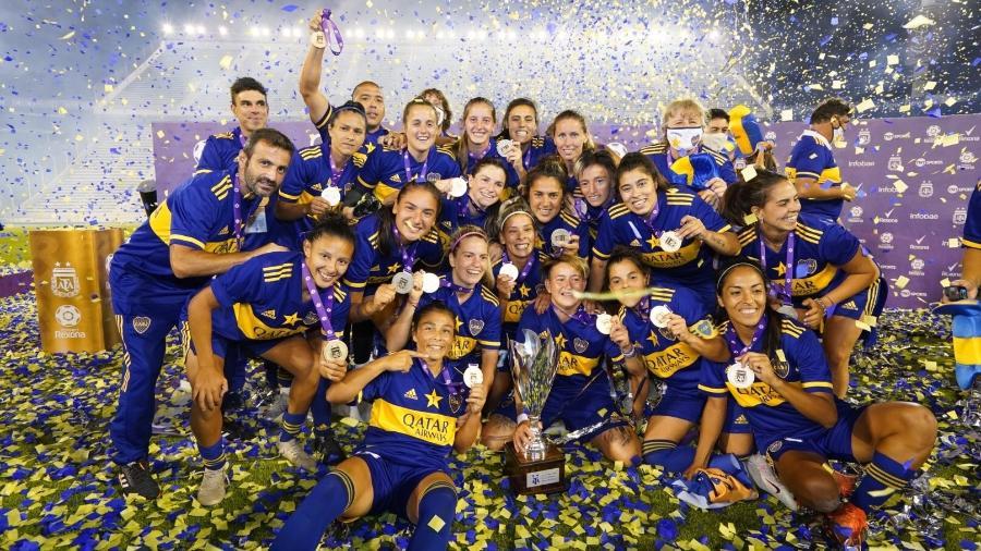 Jogadoras do Boca Juniors festejam título sobre o River Plate - Reprodução