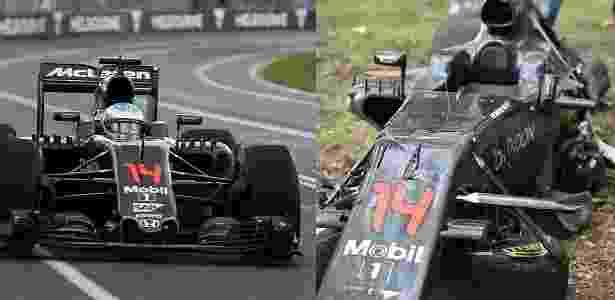 McLaren de Alonso ficou destruída após acidente com outro piloto - Arte/UOL Esporte - Arte/UOL Esporte
