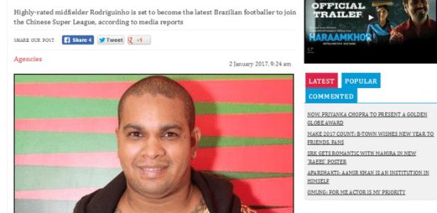 Foto do cantor Rodriguinho estampou matéria sobre jogador do Corinthians