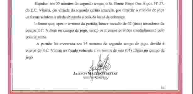 Súmula Vitória x Bahia 2 - Reprodução/Site oficial da FBF - Reprodução/Site oficial da FBF