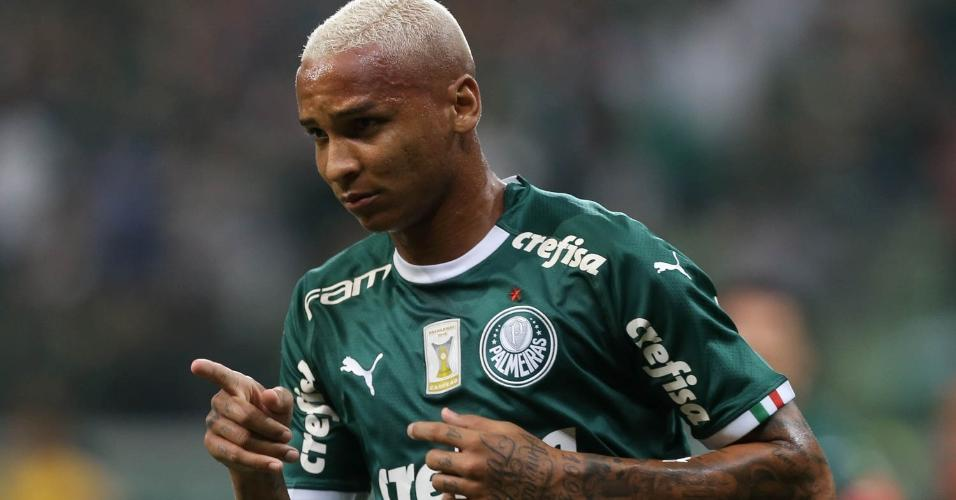 Deyverson comemora gol do Palmeiras contra o Internacional