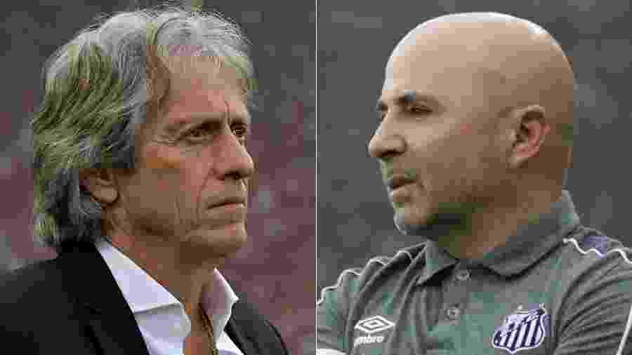 Jorge Jesus, do Flamengo, e Jorge Sampaoli, do Santos - Thaigo Ribeiro/AGIF e Sergio Moraes/Reuters