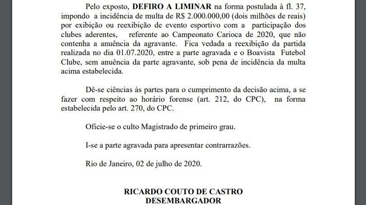Decisão judicial Flamengo x Globo - Reprodução - Reprodução