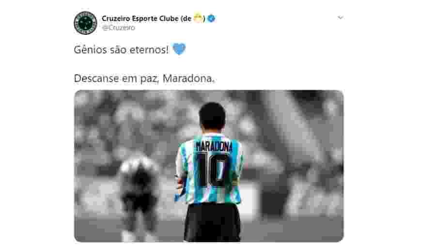 Em seu perfil no Twitter o Cruzeiro se despediu do eterno craque Maradona - Reprodução