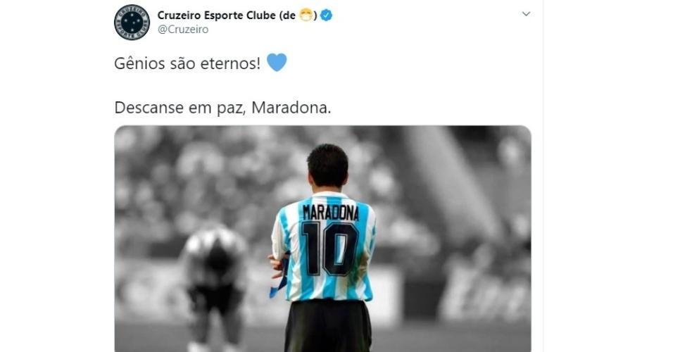 Em seu perfil no Twitter o Cruzeiro se despediu do eterno craque Maradona