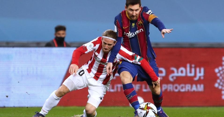 Messi foi expulso e perdeu para a final da Supercopa Espanhola para o Athletic Bilbao
