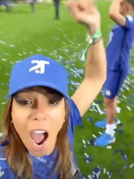 Belle Silva invade campo do Estádio do Dragão após título do Chelsea na Champions - Reprodução