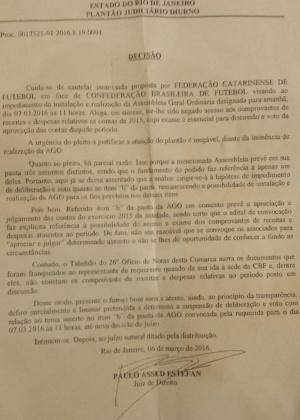 Ordem judicial para que seja suspensa a aprovação de contas de 2015 da CBF