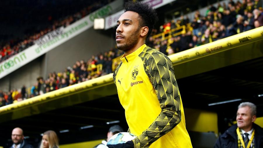 Aubameyang antes da partida entre Borussia Dortmund e Freiburg - REUTERS/Leon Kuegeler