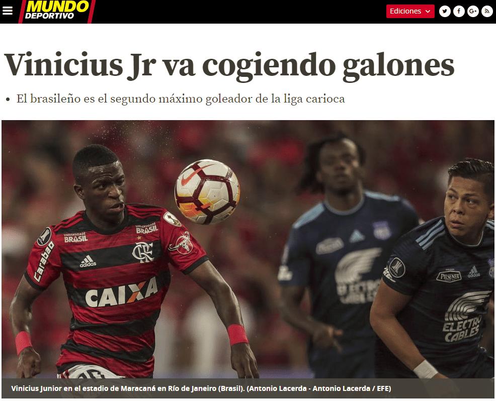 Vinicius Jr foi elogiado por jornal Mundo Deportivo