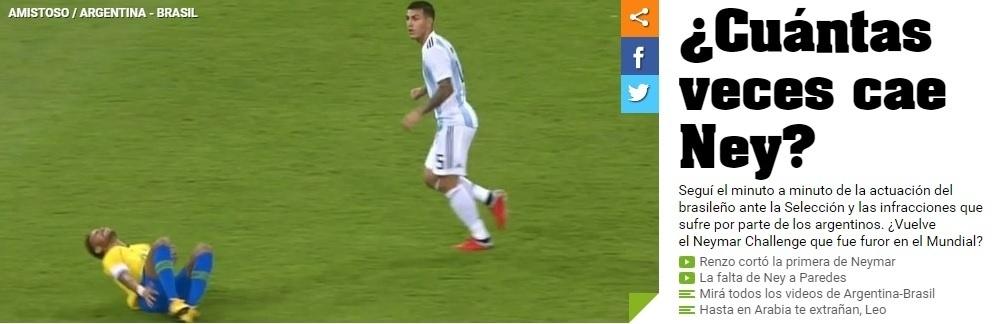 Olé contou quantas vezes Neymar caiu contra a Argentina