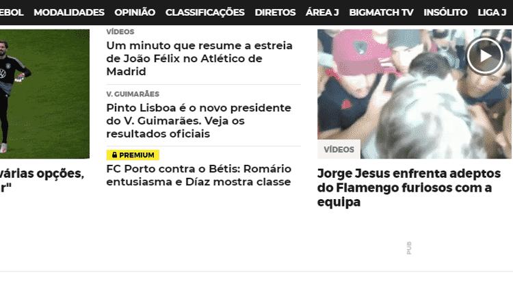 """Jornal """"O Jogo"""" também repercutiu o diálogo de Jorge Jesus e torcedores do Flamengo - Reprodução/O Jogo"""