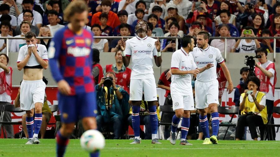 5591cad1d0c34 Chelsea comemora gol de Abraham contra o Barcelona - Kim Kyung-Hoon/Reuters