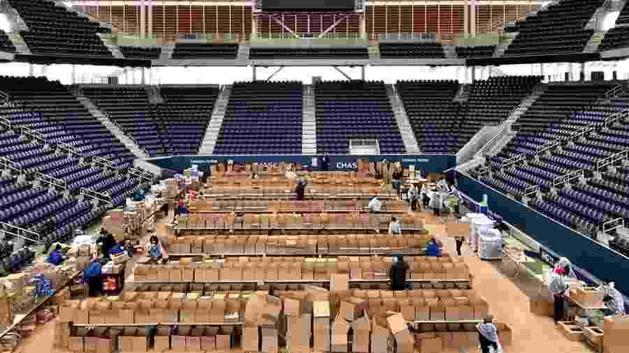 O Estádio Louis Armstrong, em Nova York, já está sendo utilizado no combate ao coronavírus - USTA