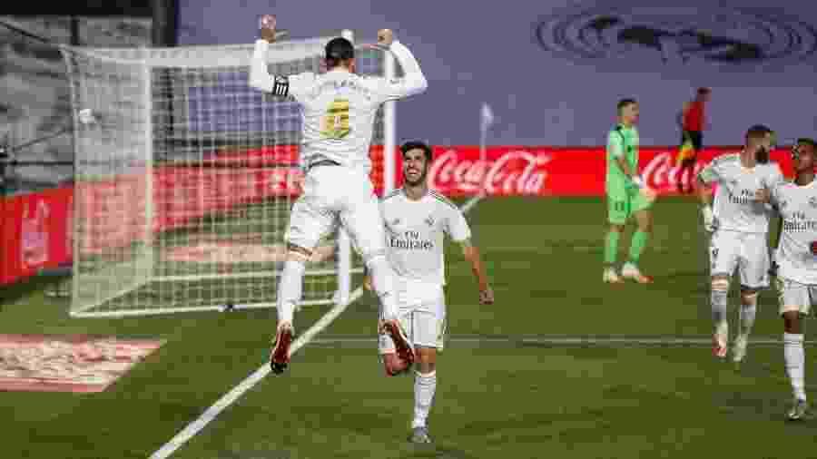Sergio Ramos comemora gol marcado do Real Madrid sobre o Getafe - Reprodução/Twitter