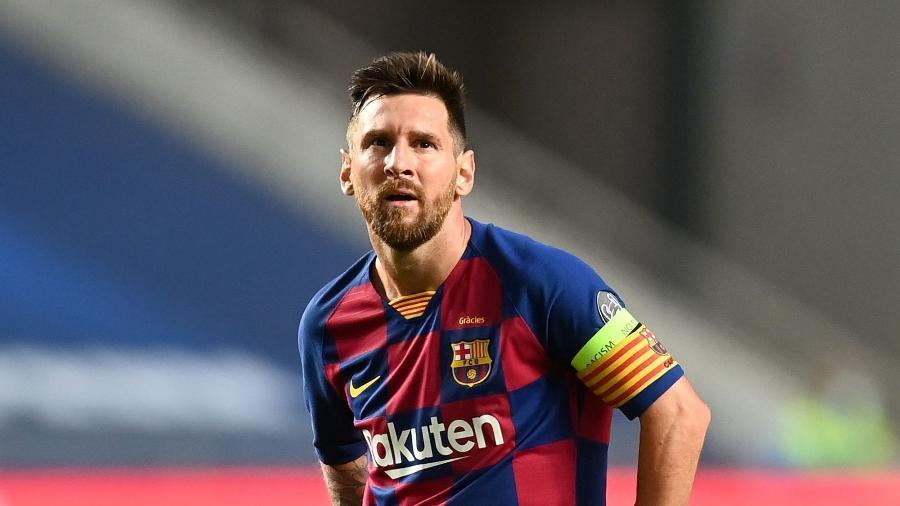 Lionel Messi, lamenta goleada do Bayern de Munique contra o Barcelona pela Liga dos Campões - UEFA/Handout via Xinhua