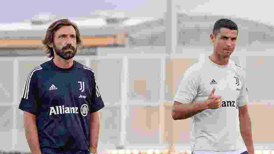 Andrea Pirlo e Cristiano Ronaldo durante treino da Juventus - Daniele Badolato/Getty Images