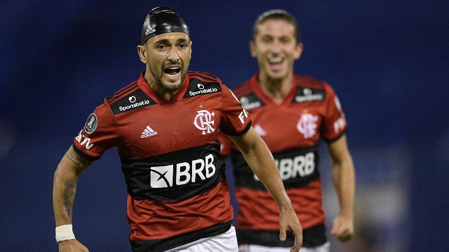 Arrascaeta comemora golaço pelo Flamengo contra o Vélez Sarsfield pela Libertadores - Juan Mabromata - Pool/Getty Images