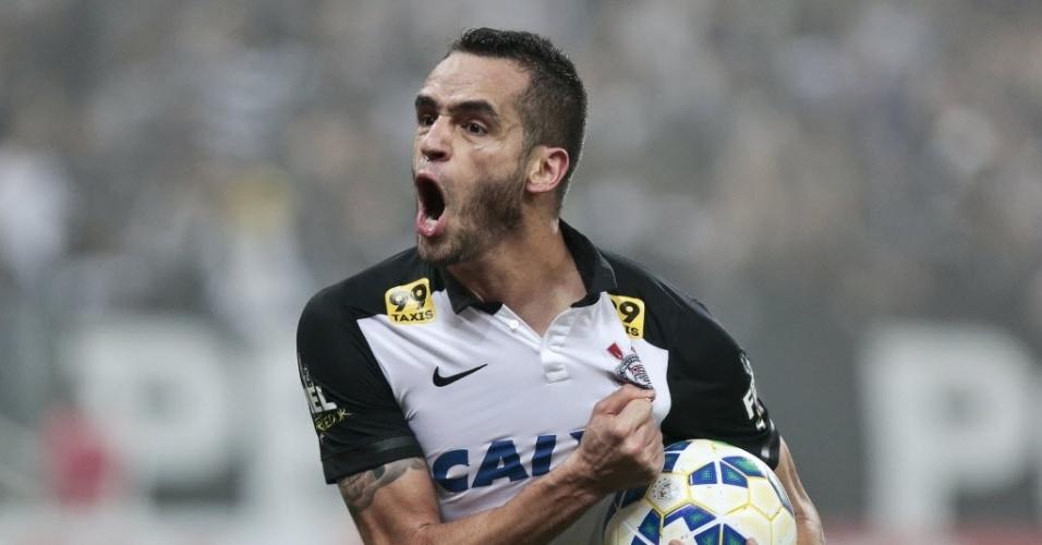 Renato Augusto solta o grito de gol no empate do Corinthians contra o Grêmio
