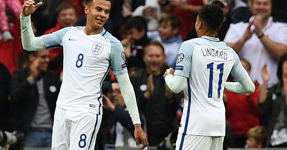 Delle Alli recebe cumprimentos de Lingard pelo gol marcado